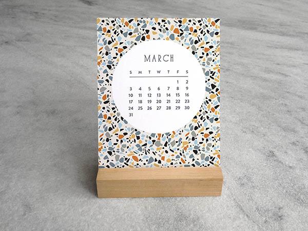 terrazzo monthly desk calendar