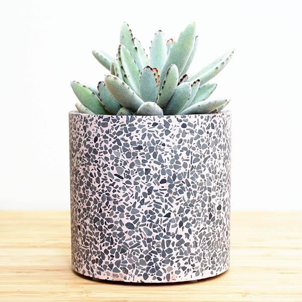 grey terrazzo plant pot