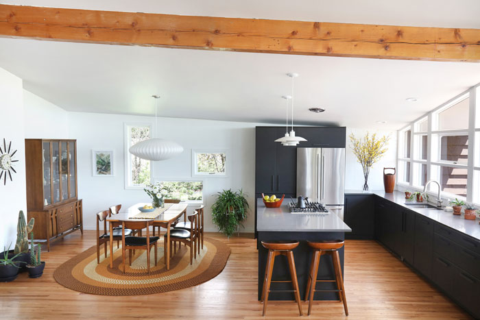 Mid Century Modern dining room and kitchen in a Denver house