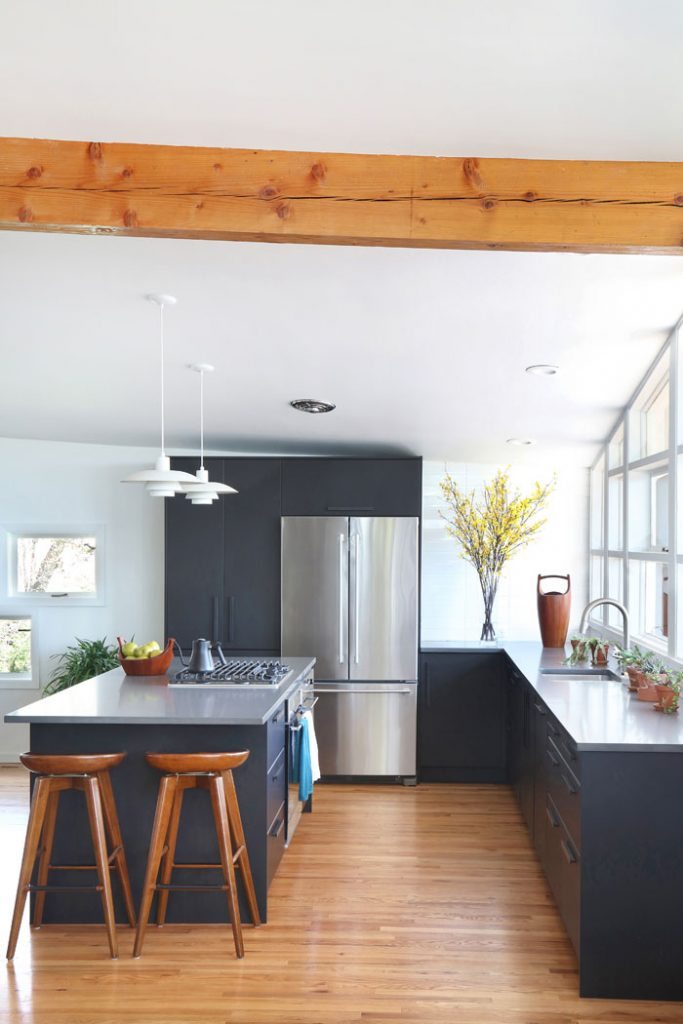 Mid Century Modern Kitchen with black cabinets