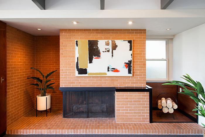 Mid Century Modern brick fireplace