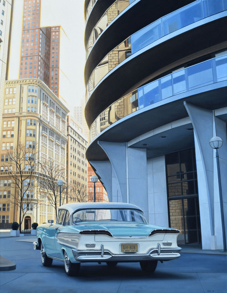 Edsel in the City Mid Century Modern oil painting by Danny Heller