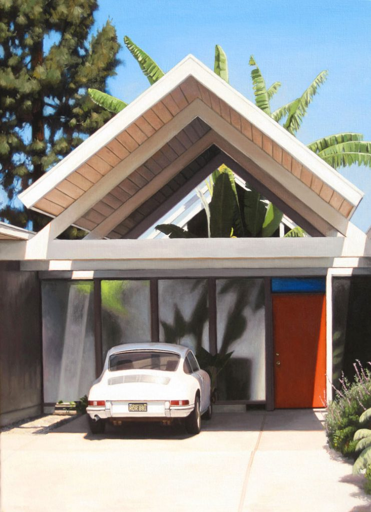 Eichler with Porche Mid Century Modern oil painting by Danny Heller