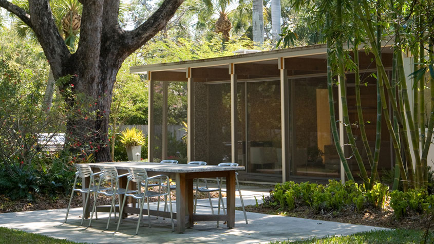 Mid Century landscaping at the Tim Seibert designed Armstrong House in Sarasota, Florida.