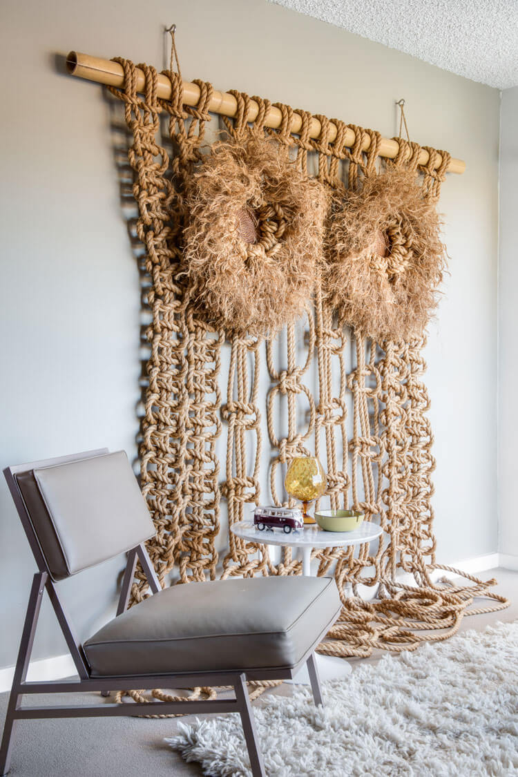 Mid Century Modern macrame owl and chair