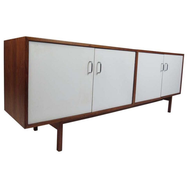 Cabinet with white laminate doors.