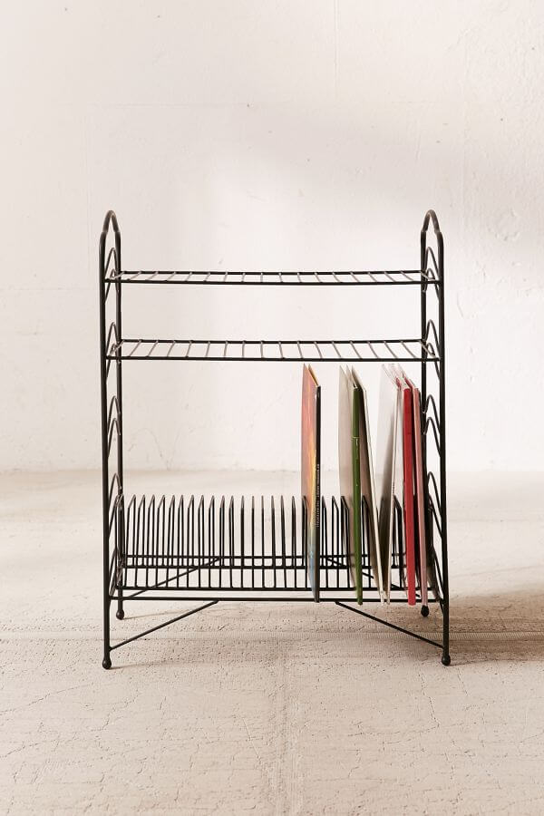 Wire rack record storage solution with two horizontal shelves.