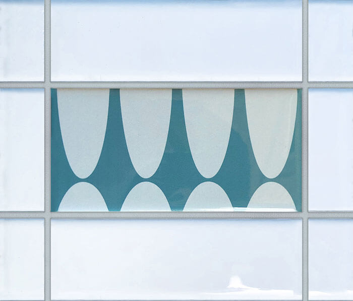Blue mid century subway tile