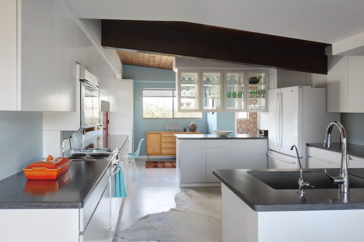 Bright and airy kitchen in restored arthur t. brown home