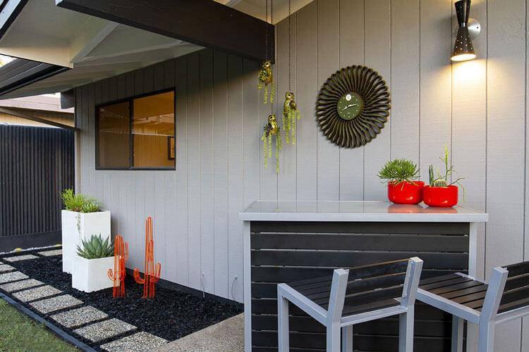 Mid Century Modern backyard with MCM bar