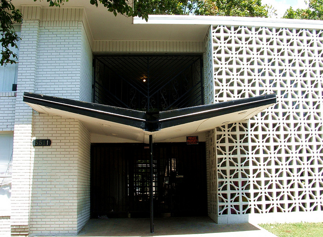 breeze blocks on a texas mid century modern apartment building
