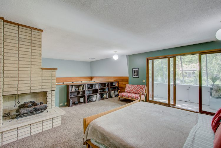 master bedroom with fireplace mid century modern frank lloyd wright inspired