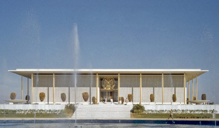 us embassy in new delhi covered in breeze blocks