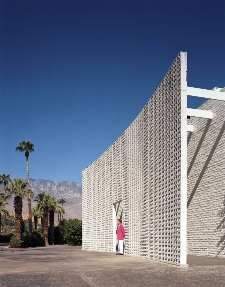 parker palm springs hotel exterior with breeze blocks