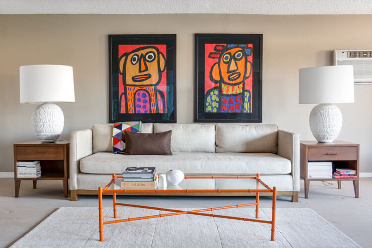 desert modernism living room abstract art