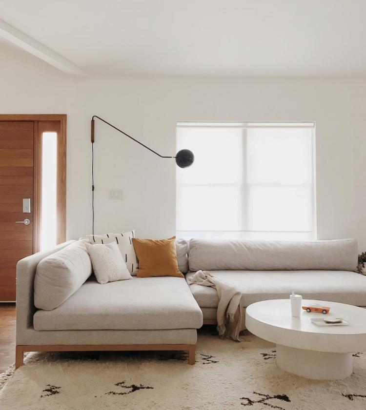 minimal mid century modern living room