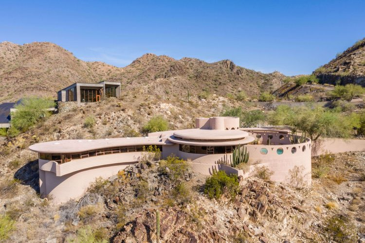 An alternate view of the exterior to Frank Lloyd Wright's Circular Sun House.