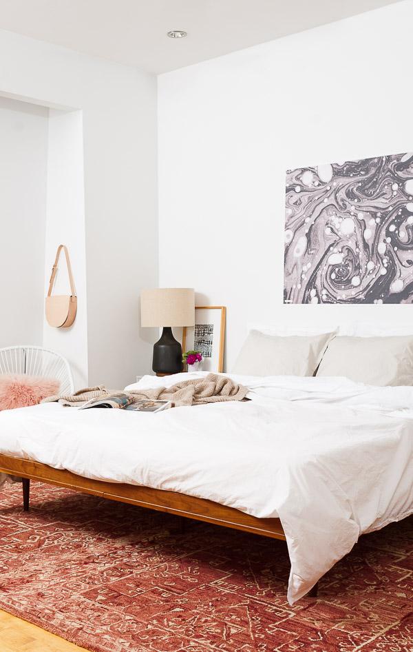 minimal mid century modern bedroom