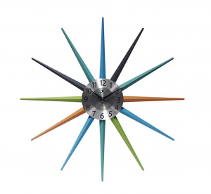 colorful starburst wall clock midcentury modern