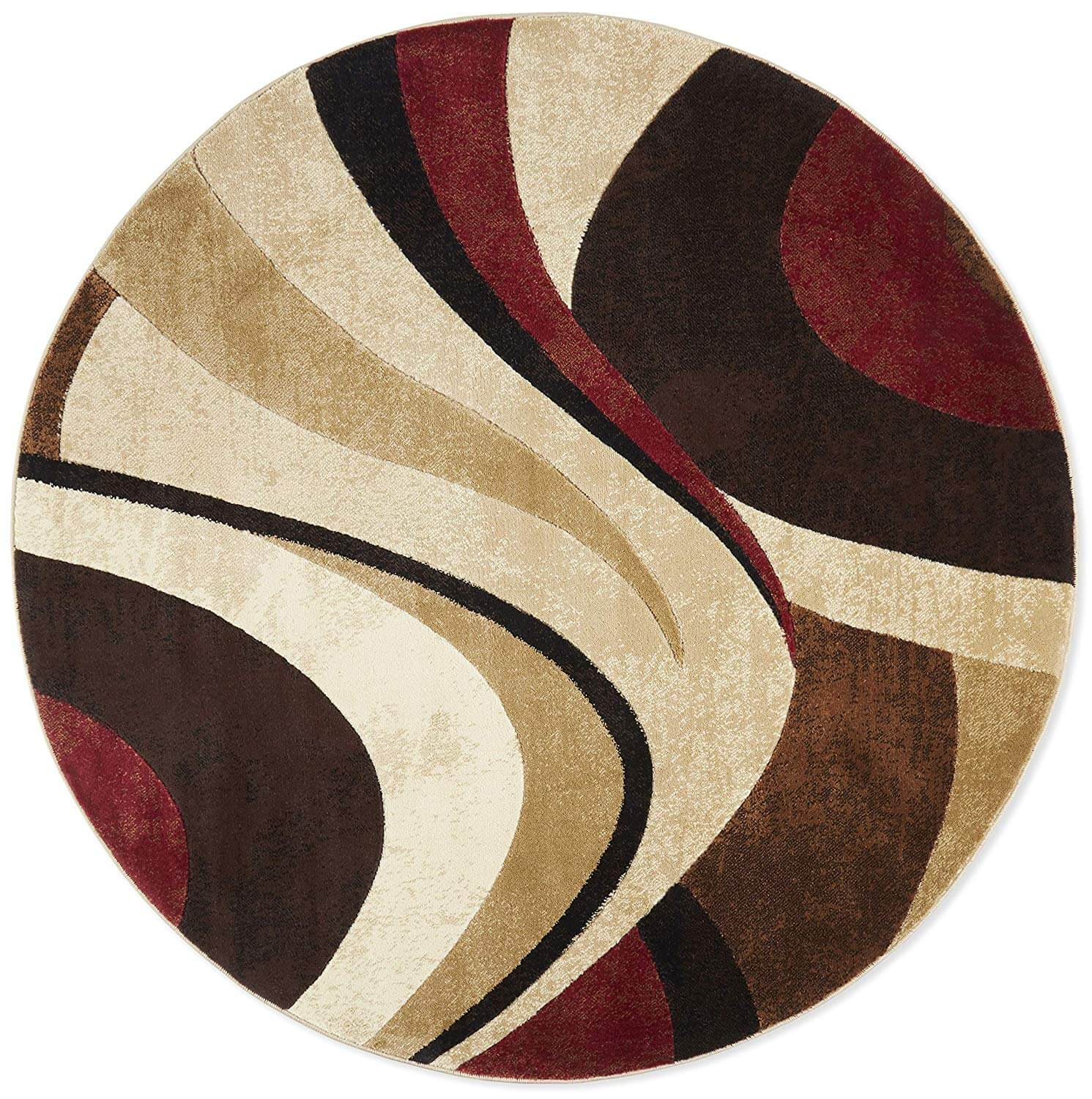 A circular rug with a swooping beige and maroon pattern.
