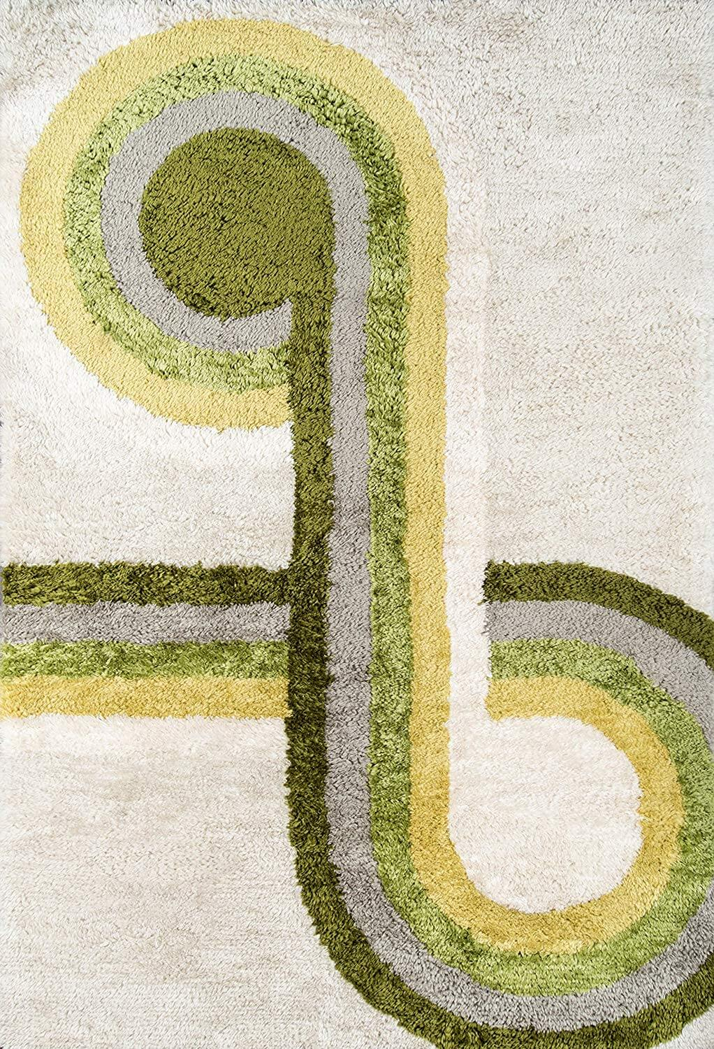 A mid-century rug with a swerving-pattern in differing shades of green, grey, white, and yellow.