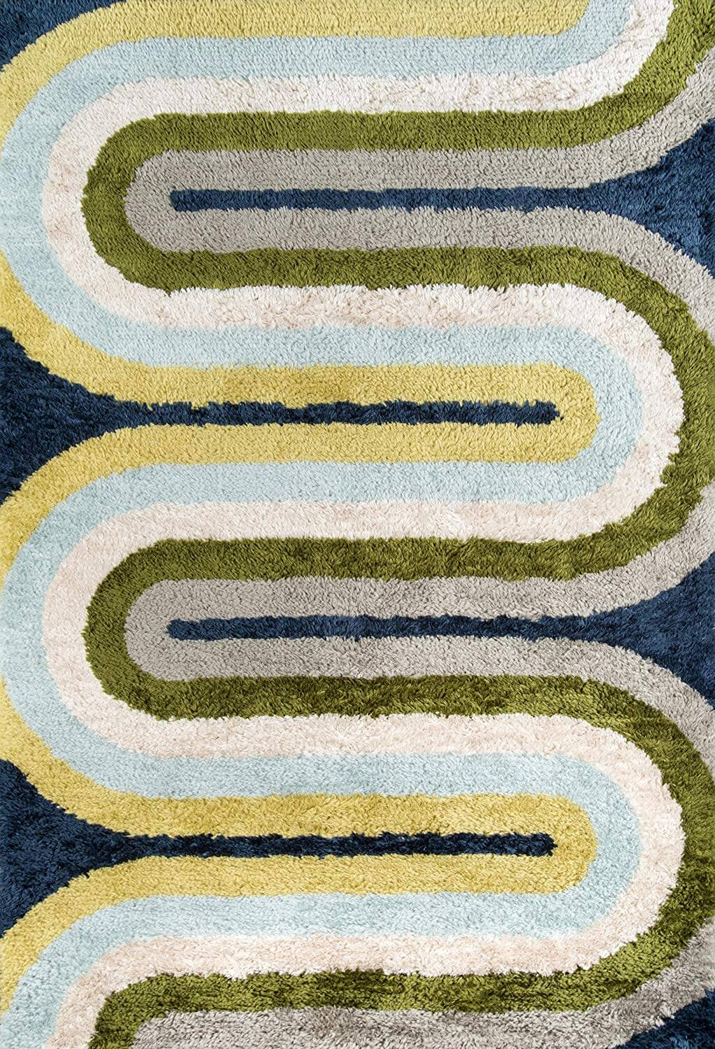 A yellow, blue, and green zig zag mid-century rug.