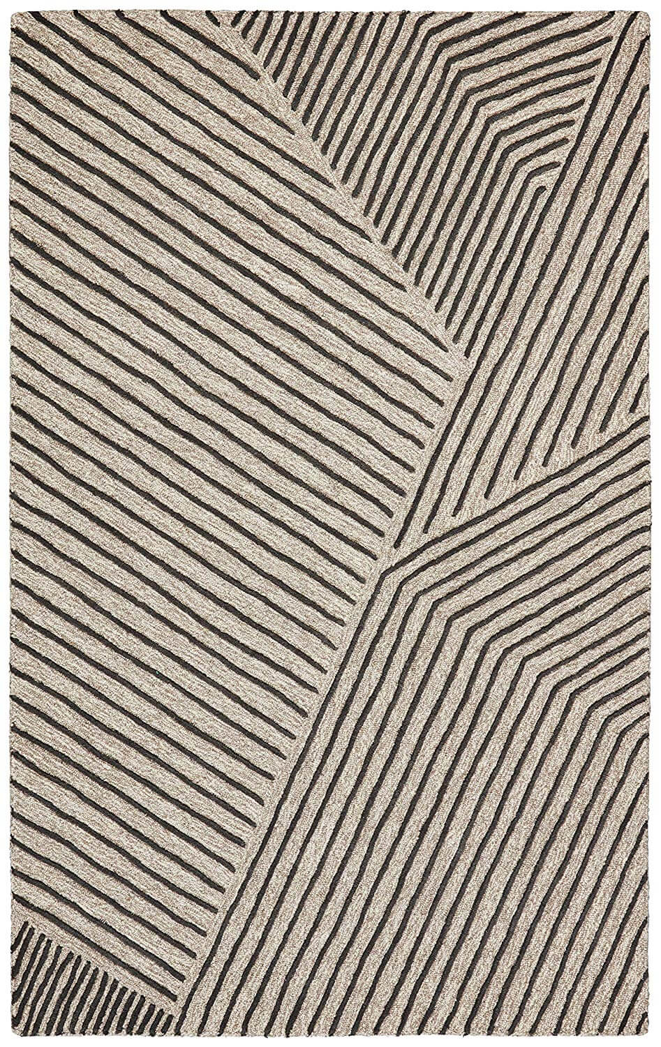 A mid-century rug with linear designs overlapping each other.