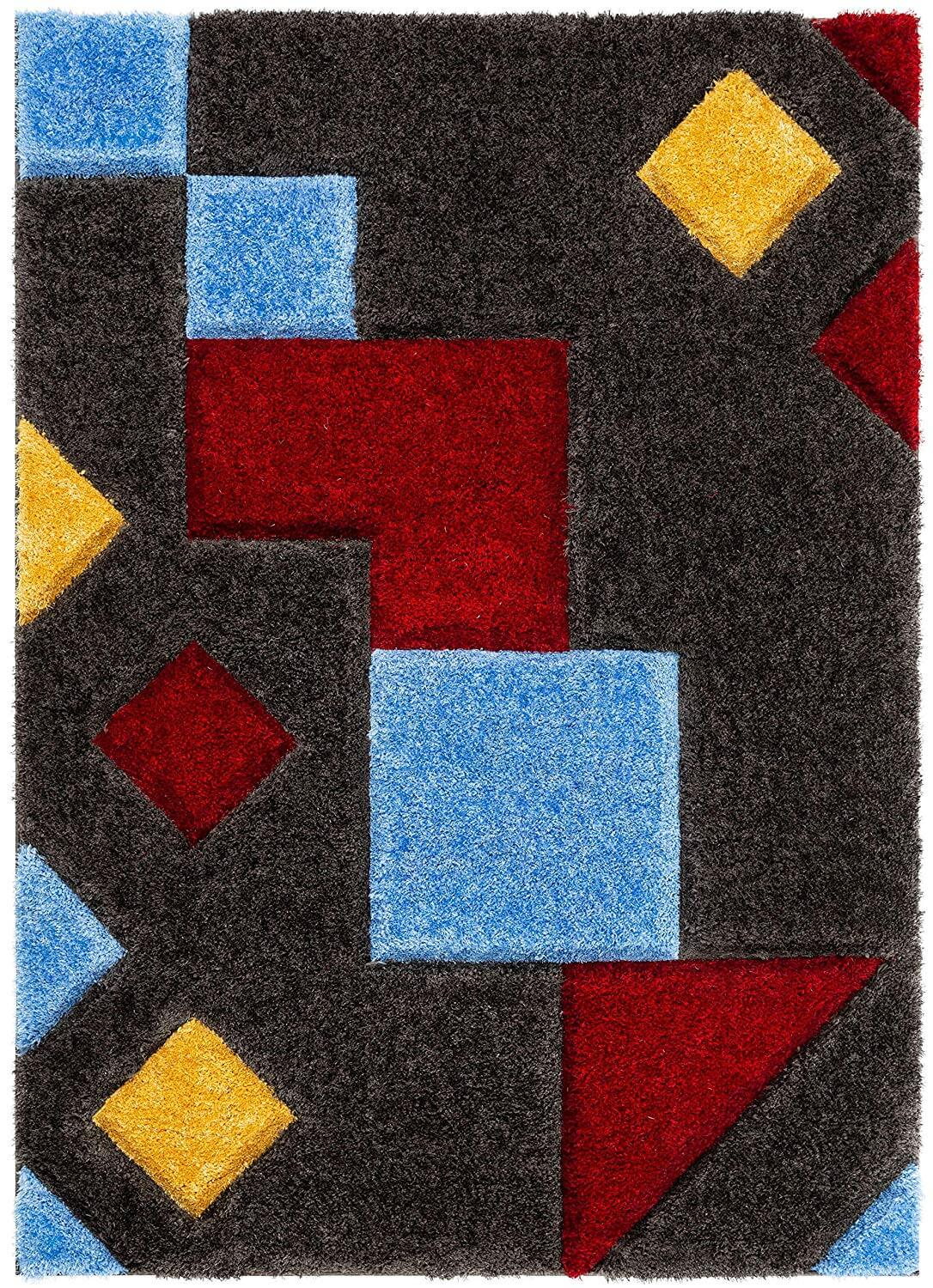 A grey rug with several multi-colored geometric shapes.