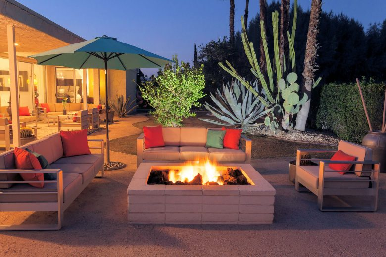 history of canyon estates backyard patio with firepit