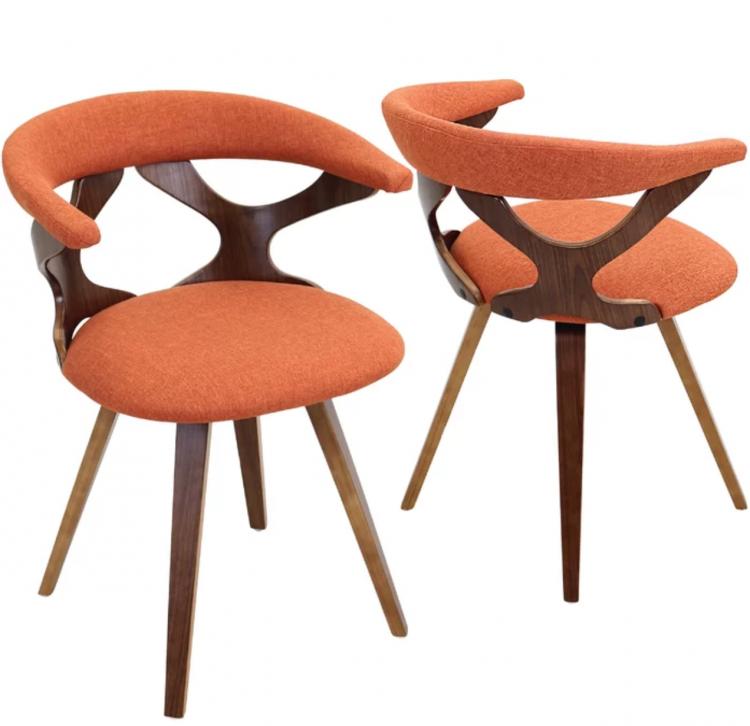 burnt orange mid century modern chair