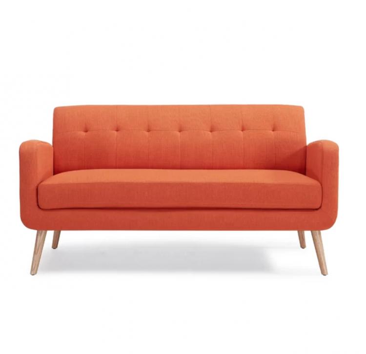 burnt orange mid century modern couch