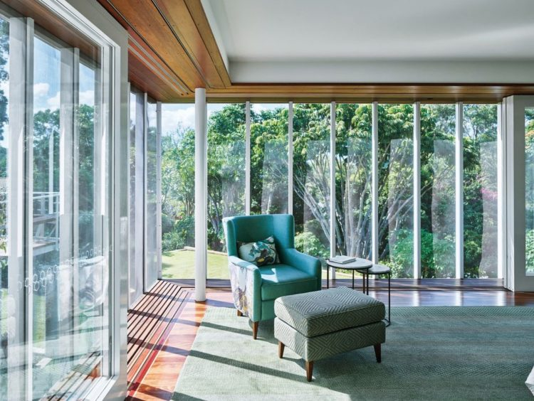restored mid century modern home living room