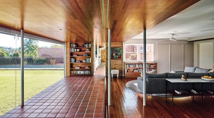 restored mid century modern home living room library