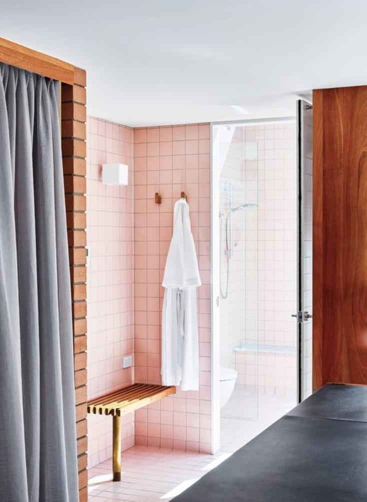 restored mid century modern bathroom