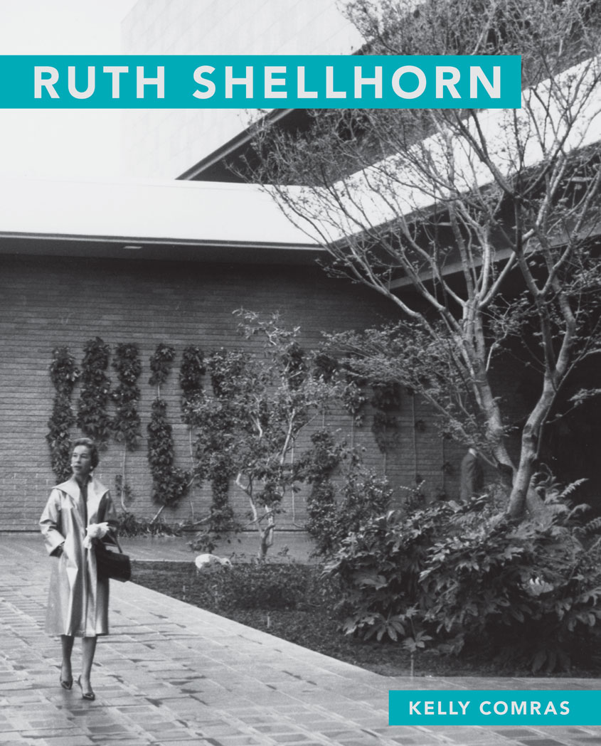 The cover of Kelly's Compras book with a picture of Ruth Shellhorn walking amongst a prominent landscape design.