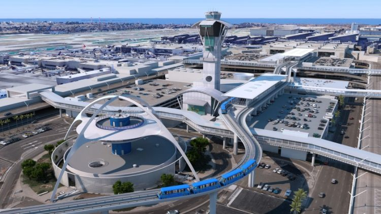 lax theme building with train in the future