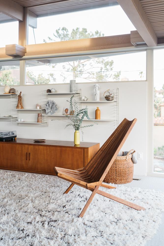 mid century modern clerestory windows in living area