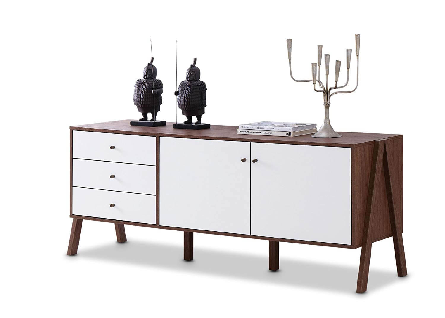 A Scandinavian-style credenza with a dark-wood facade and white cabinets.