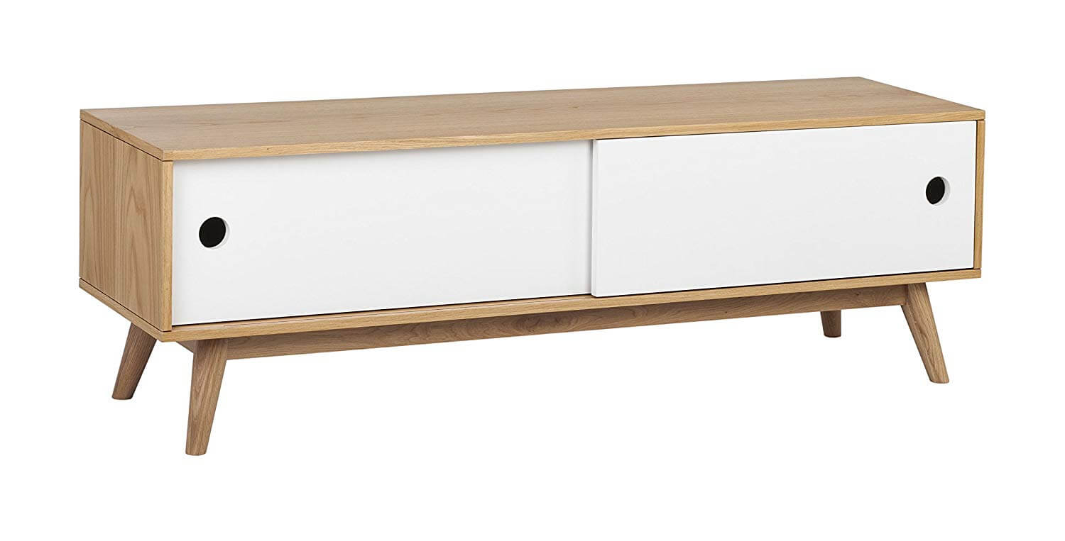 Mid century credenzas with a natural wood enclosure and white sliding cabinets.