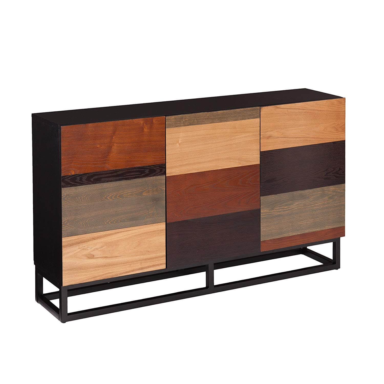 Mid century credenzas with a paneled wood facade.