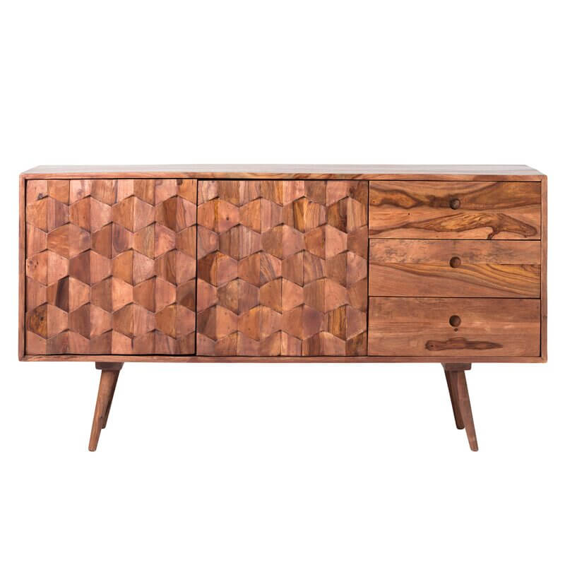 A mid century modern credenza made of natural wood and a repeating hexagonal design on the front.