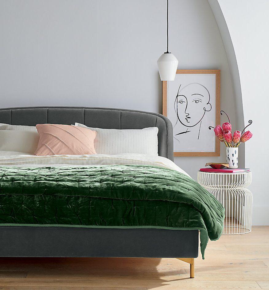mid century modern bedding velvet quilt