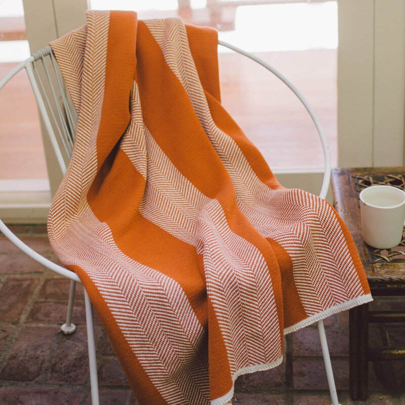 mid century modern bedding orange throw