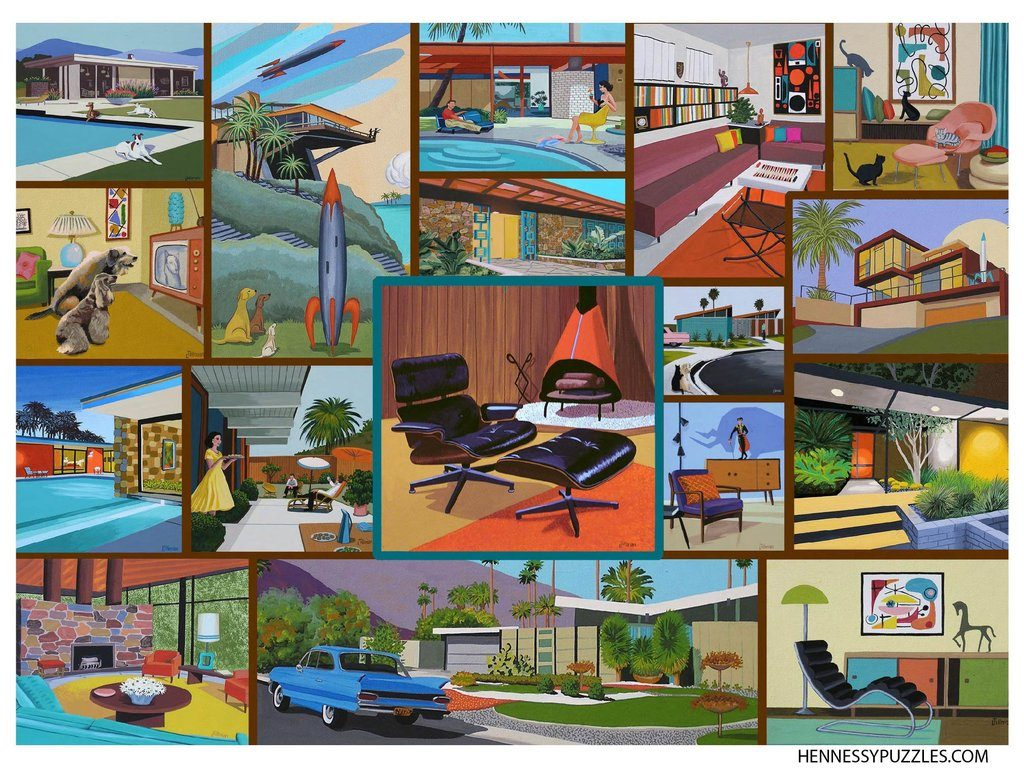 Mid Century Modern Puzzle by Hennessy