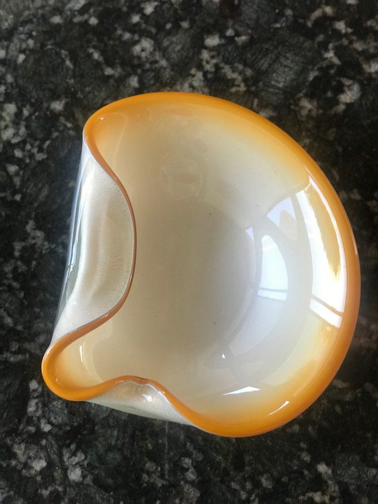 twin palms orange decorative bowl