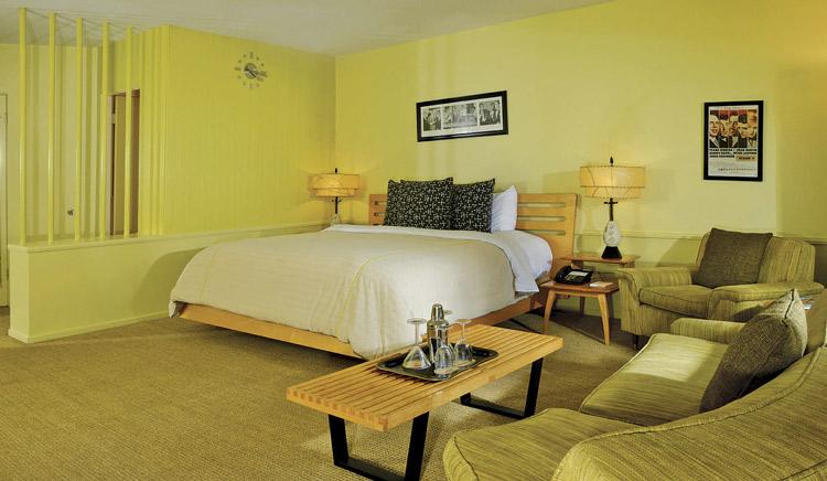 mid century paneling hotel room
