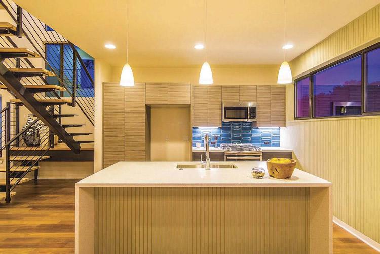 mid century paneling on kitchen island