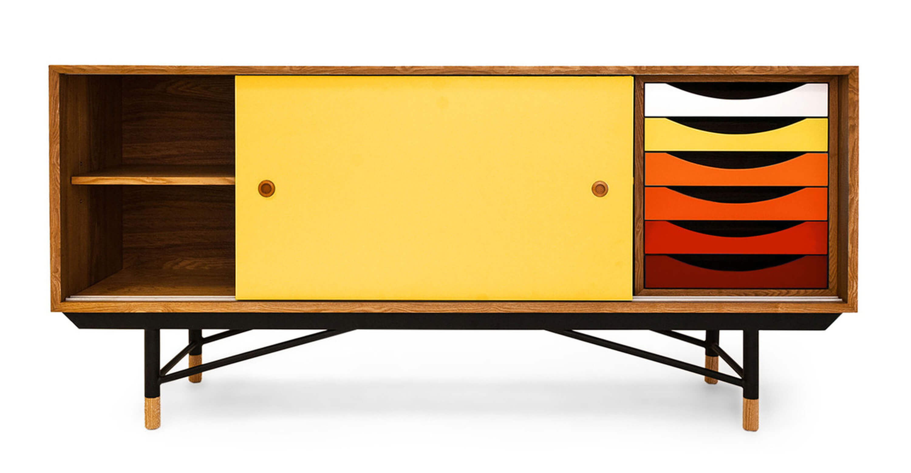 Mid century credenzas complete with a repeating right cabinet that is colored white, yellow, orange, and red.