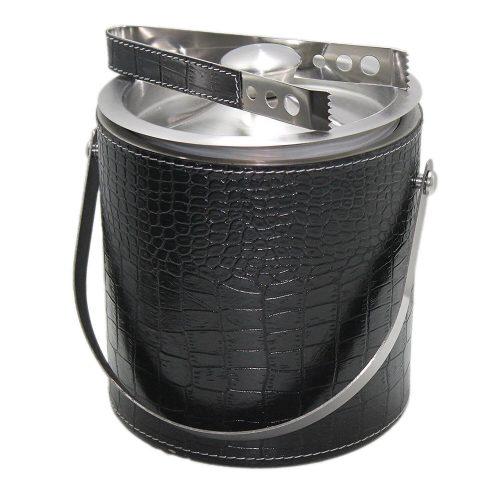 A faux alligator-skin ice bucket.