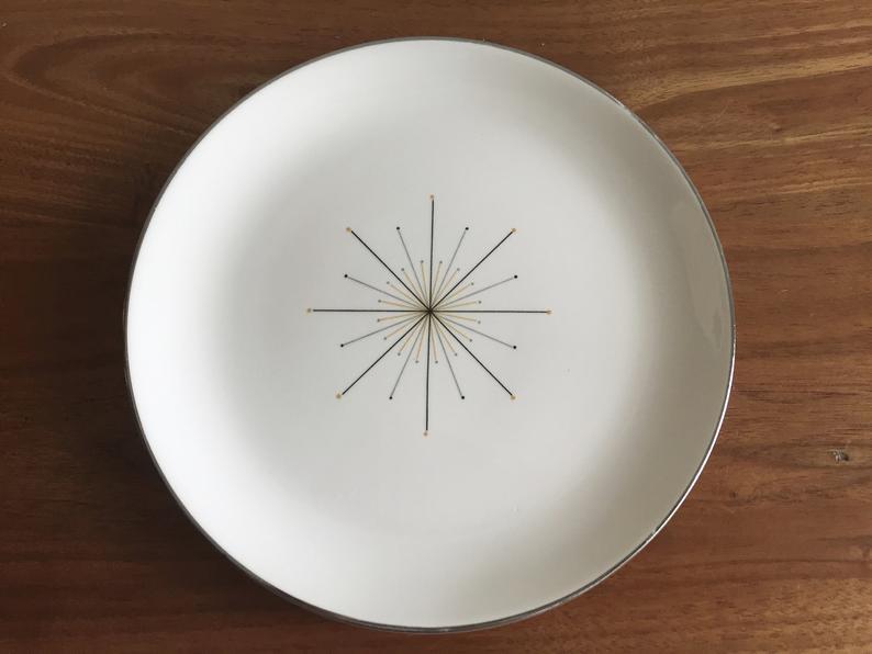 retro dinnerware salad plate starburst